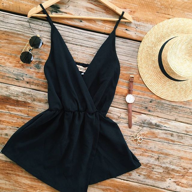 Black | Playsuit | Summer   SHOP the Au Revoir Playsuit www.mubraoutique.com.au…