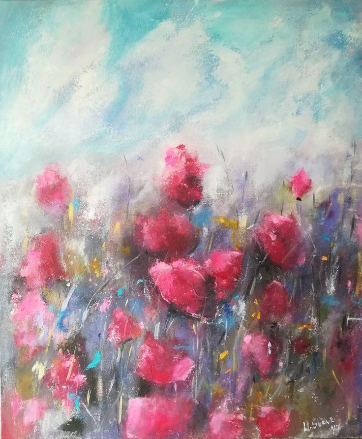 Flowers, original acrylic painting on canvas 50x60