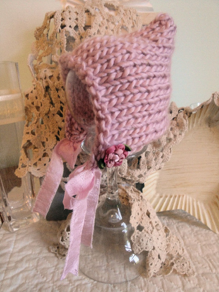 Photo Prop Hand Knitted Pixie hat in Mauve with flowers and fabric ties for Newborn Baby Girl. $25.00, via Etsy.