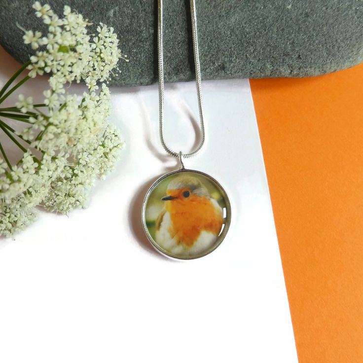 Bird Jewelry, Birthday Gift, Robin Necklace Pendant, Photo Jewelry, Everyday Necklace, Nature Jewellery, Silver Bird Necklace, Gift For Her