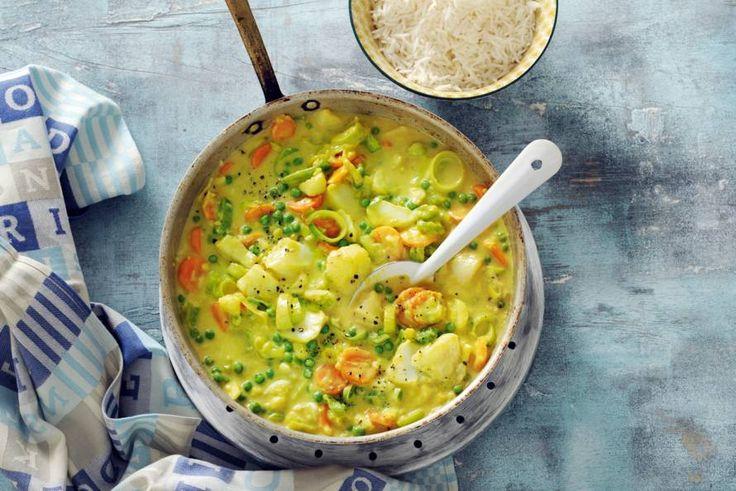 Visragout met rijst en groente