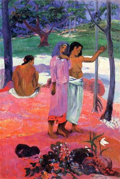 The Call, 1902 by Paul Gauguin, 2nd Tahiti period. Cloisonnism. genre painting