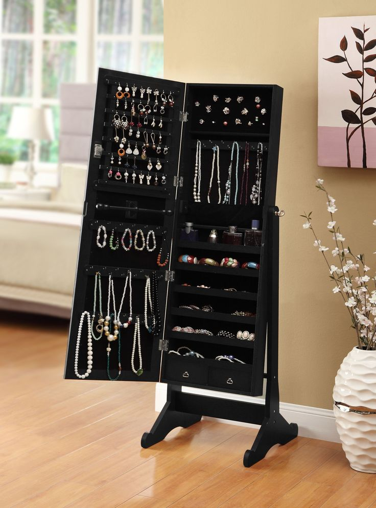 Amazon Com Black Mirrored Jewelry Cabinet Amoire W Stand