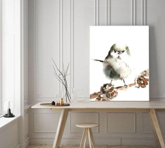 Art Print van Chickadee vogel aquarel schilderij kunst