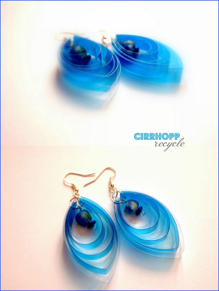 Transparent, lightweight and clear earrings made of upcycled plastic bottle. #Earrings, #Jewelry, #Recycled, #Upcycled