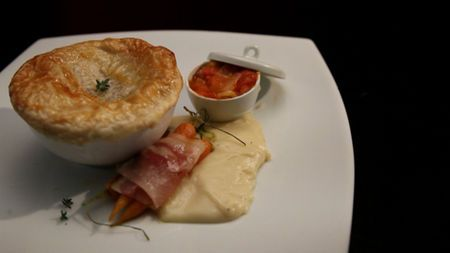 Venison and beer pie with relish, mash and pancetta wrapped baby carrots