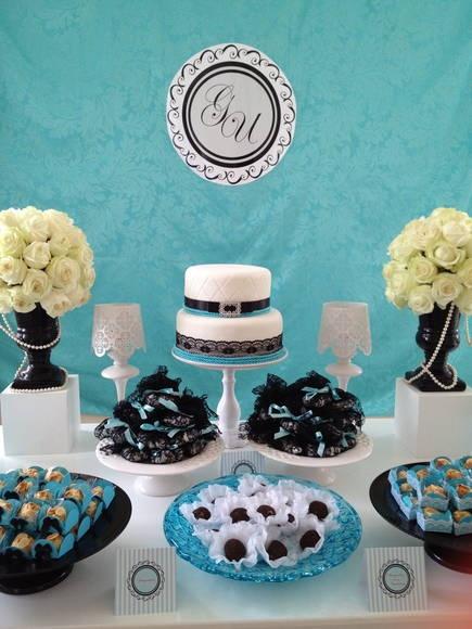 Mesa bolo Azul Tiffany