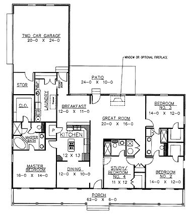 18 best house floor plans images on pinterest cottage for 3 bedroom with office house plans