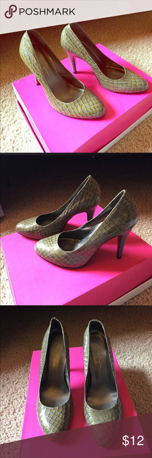 Cute Pumps These cute green and gray pumps are in great condition. The shoe is green snake skin like pattern and the pump is a solid light gray. Very unique! Jessica Simpson Shoes Heels