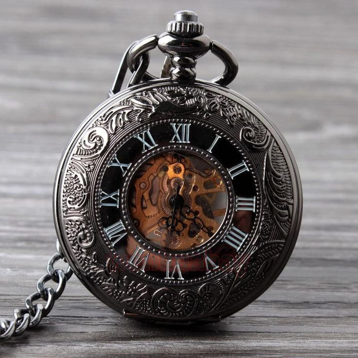 Black and Bronze Skeleton Pocket Watch