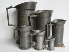 6  Antieke tinnen maatkannen- Nederland - rond 1875