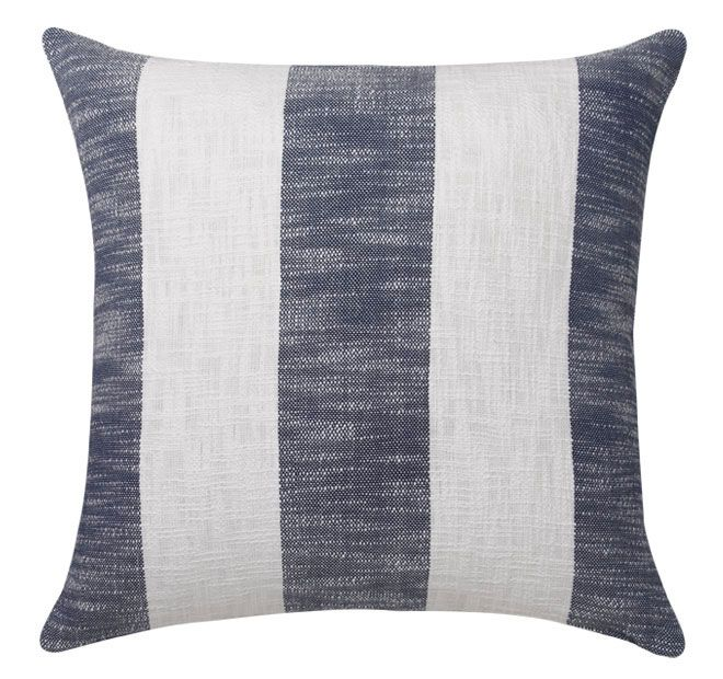 Malone Navy ROYAL DOULTON  Malone, in a wide contemporary stripe, adds modern charm and casual elegance. The slub adds textures reminiscent of beachside retreats while the bold stripe adds a touch of formality to the range. Crisp white against navy blue is a classic colour combination which never dates.  Features: 100% cotton slub Printed stripes front and reverse Zip closure  Dimensions: x1 European Pillowcase - 65cm x 65cm - #pillowcases