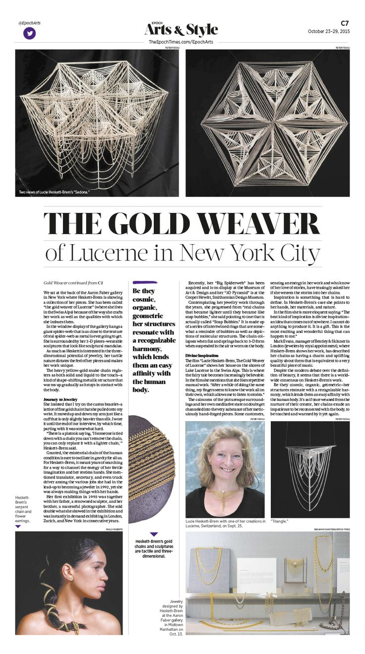 The Gold Weaver of Lucerne in New York City|Epoch Times #Arts #newspaper #editorialdesign