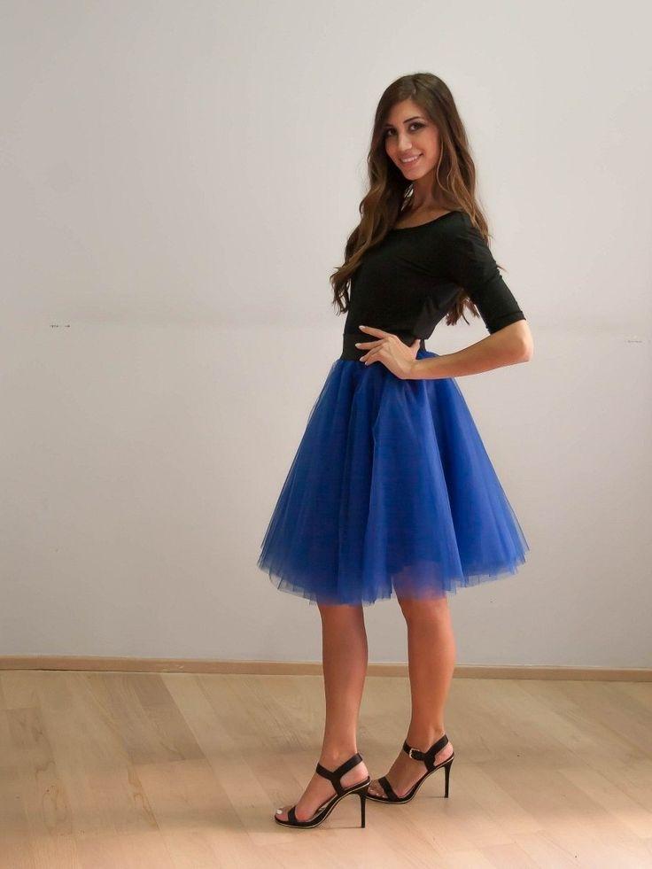 mini tulle skirt royale blue Joanna Misseli exclusively in Papa k Froufrou Corinthos Greece