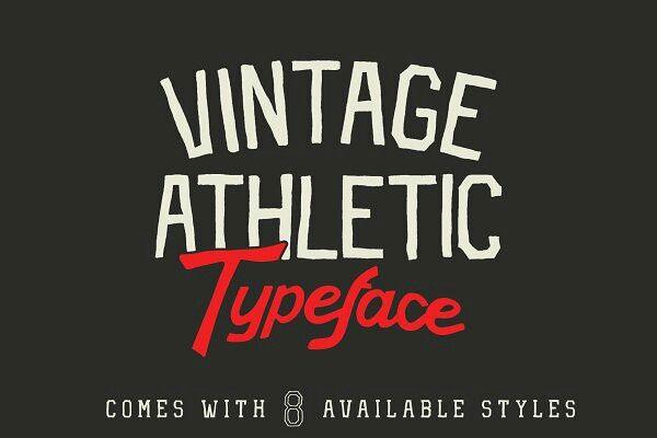 Vintage Athletic Block Typeface Athletic Fonts Lettering Design Typeface