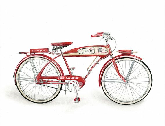 HUFFY RADIOBIKE - Unframed  Who doesn't love classic bicycles? Crayola colored…