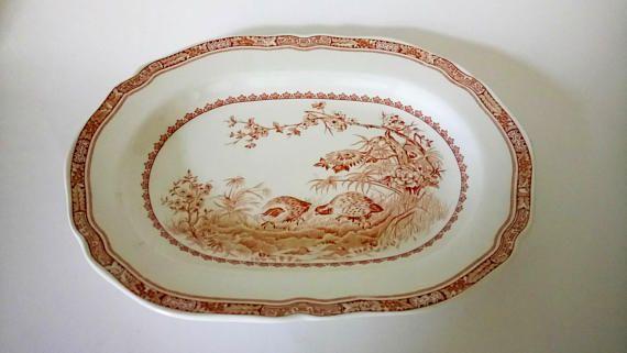 Antique Vintage 11 Furnivals Quail Brown Platter