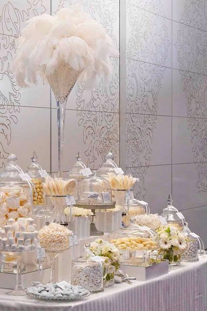 So gorgeous glamorous white wedding dessert table display for 1920s decoration