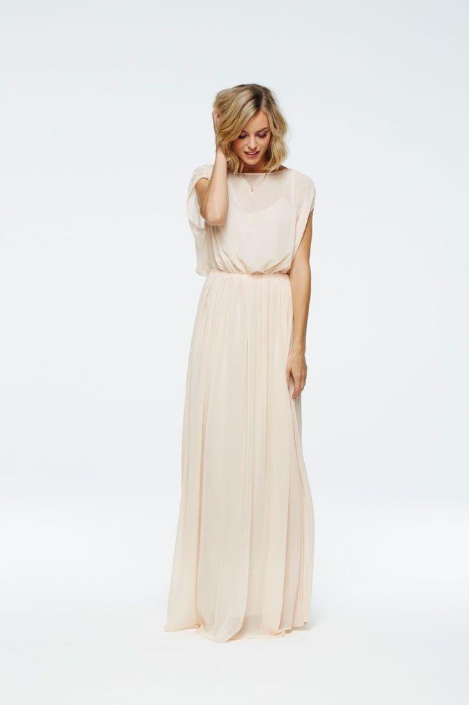 <ul> <li>Grecian inspired chiffon maxi dress with elastic waistband.</li> <li>Pleat detail at shoulders and softly draped neckline.</li> <li>Separate tonal slip with adjustable spagehtti straps.</li> </ul>