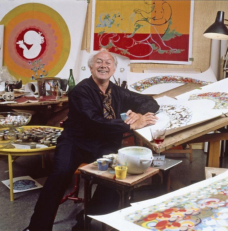 Bjørn Wiinblad -- the artist in 1989 at his Atelier in Copenhagen.