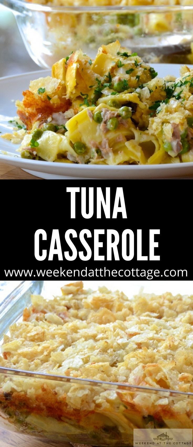 Need a quick and easy dinner that the whole family will love.  In this classic TUNA CASSEROLE recipe we've made our own sauce instead of using canned soup for a healthier version that won't break the bank! #dinnerrecipe #familydinner #casserole #easyrecipe #cheesy