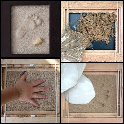 Framed Baby Foot Print In Sand this would be cool with different Sands from all of the vacations could label each one with the location and time