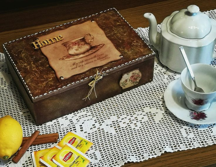 Teázáshoz mindig kell egy szép teafiltertartó! / decoupage, tea box, vintage