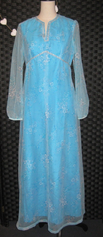 Vintage Pastel Blue 1970's Maxi Dress by ChinaAndOldStuff on Etsy, $125.00