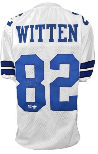 Autographed Jason Witten Dallas Cowboys Custom Jersey Witness - JSA Certified - Autographed NFL Jerseys by Sports Memorabilia. $199.06. Autographed Jason Witten Dallas Cowboys Custom Jersey JSA Witness. Jason Witten's amazing stats prove why he's one of the best to play the game. We provide authentic certificates of authenticity for all pieces on our site. Like every item on our site, this piece has passed our quality inspection. Jason Witten doesn't sign often, making...