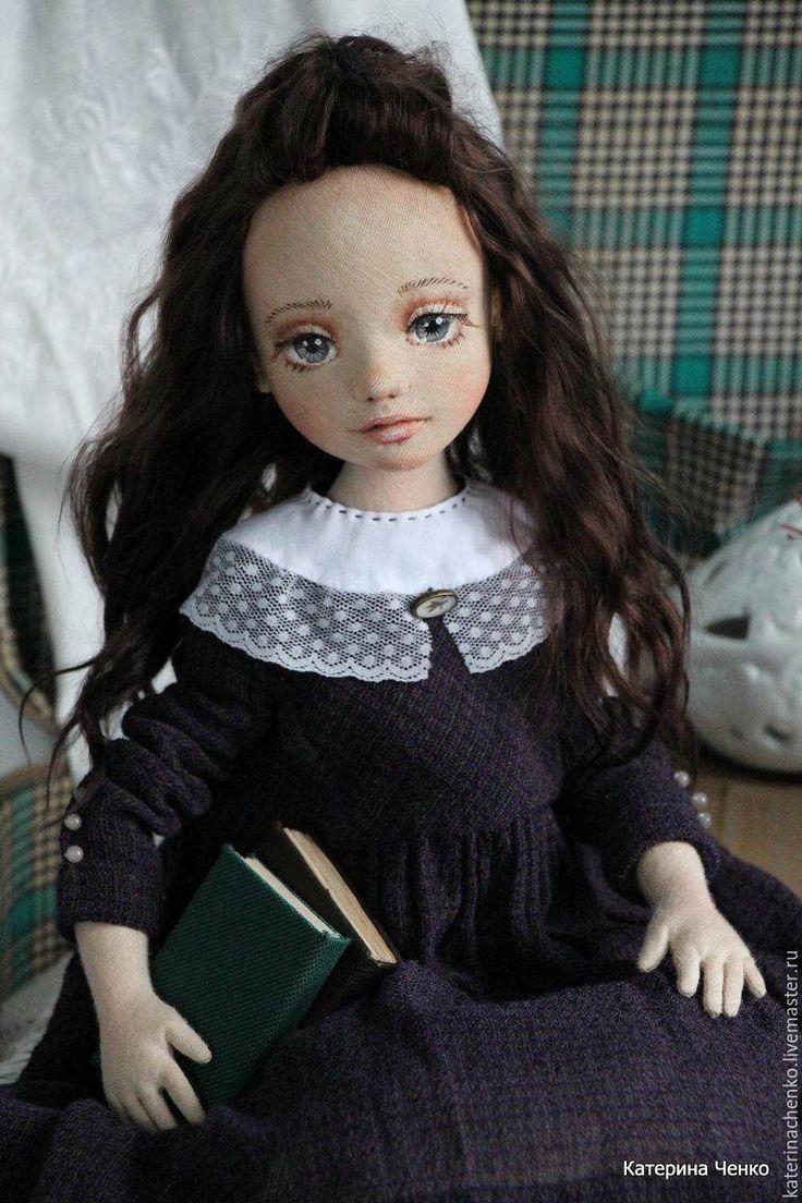 Купить Текстильная кукла, Дуняша - коричневый, фиолетовый, кукла, кукла из ткани, кукла текстильная