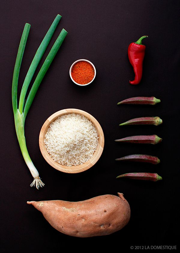 Ingredients for Spiced Rice with Sweet Potatoes and Crispy Okra, by la Domestique