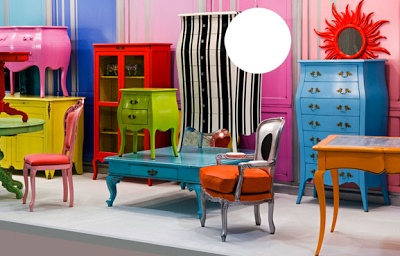 I'm obsessed with the idea of having a few bright colored furniture pieces on my Work Station AND living room.