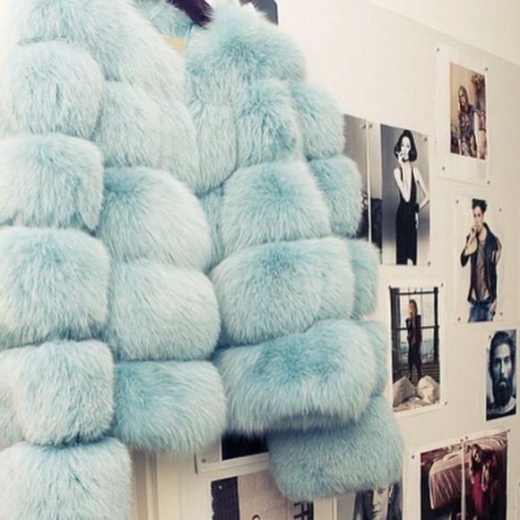 Baby blue Mink Coat Short blue mink coat dyed baby blue Jackets & Coats