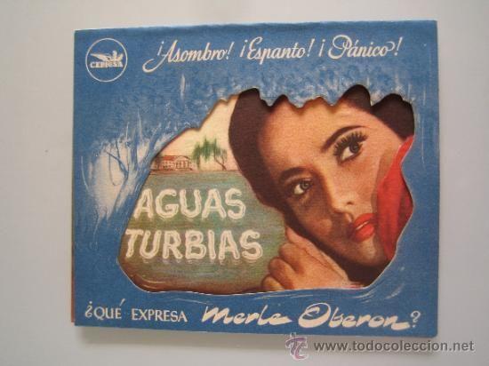 aguas turbias cepicsa - folleto de mano doble troquelado original estreno con cine impreso