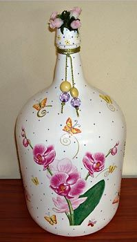 Reciclagem de garrafão de vidro com pintura