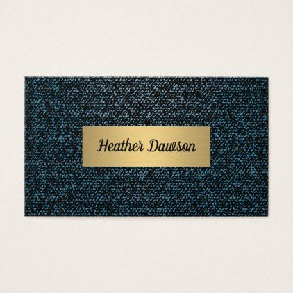 Denim and Metallic Gold Business Card - chic design idea diy elegant beautiful stylish modern exclusive trendy