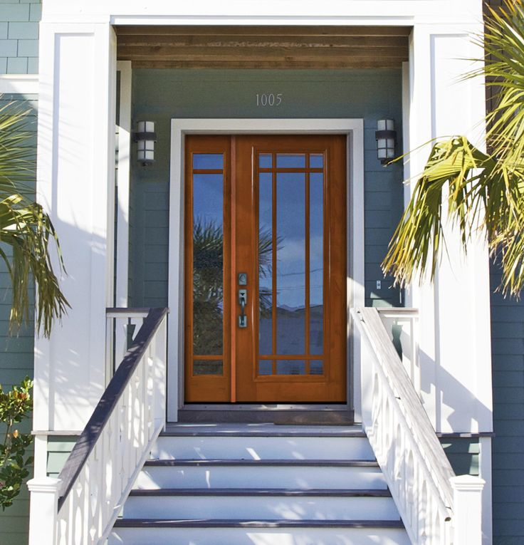 GlassCraft's premium fiberglass divided lite entry door. Great for beach houses, coastal homes, transitional and minimalist architecture.