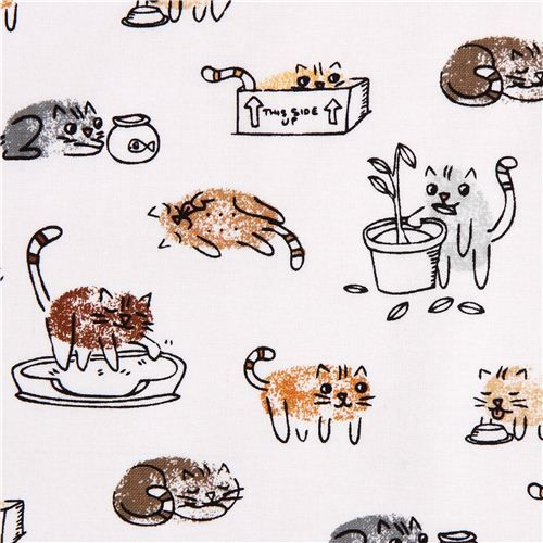 white Thumbprint cat fabric by Timeless Treasures USA
