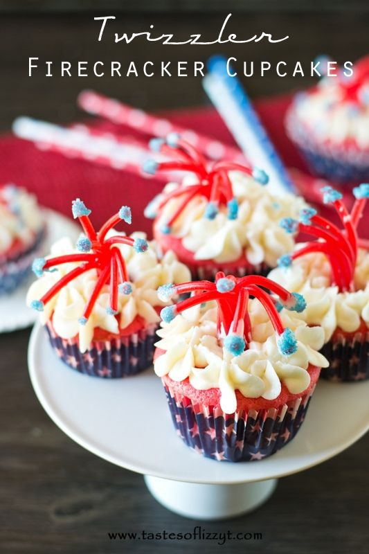 Twizzler Firecracker Cupcakes. Make a bang at your July 4th party with these Twizzler Firecracker Cupcakes! These patritotic treats are a fun, edible craft for kids to make.