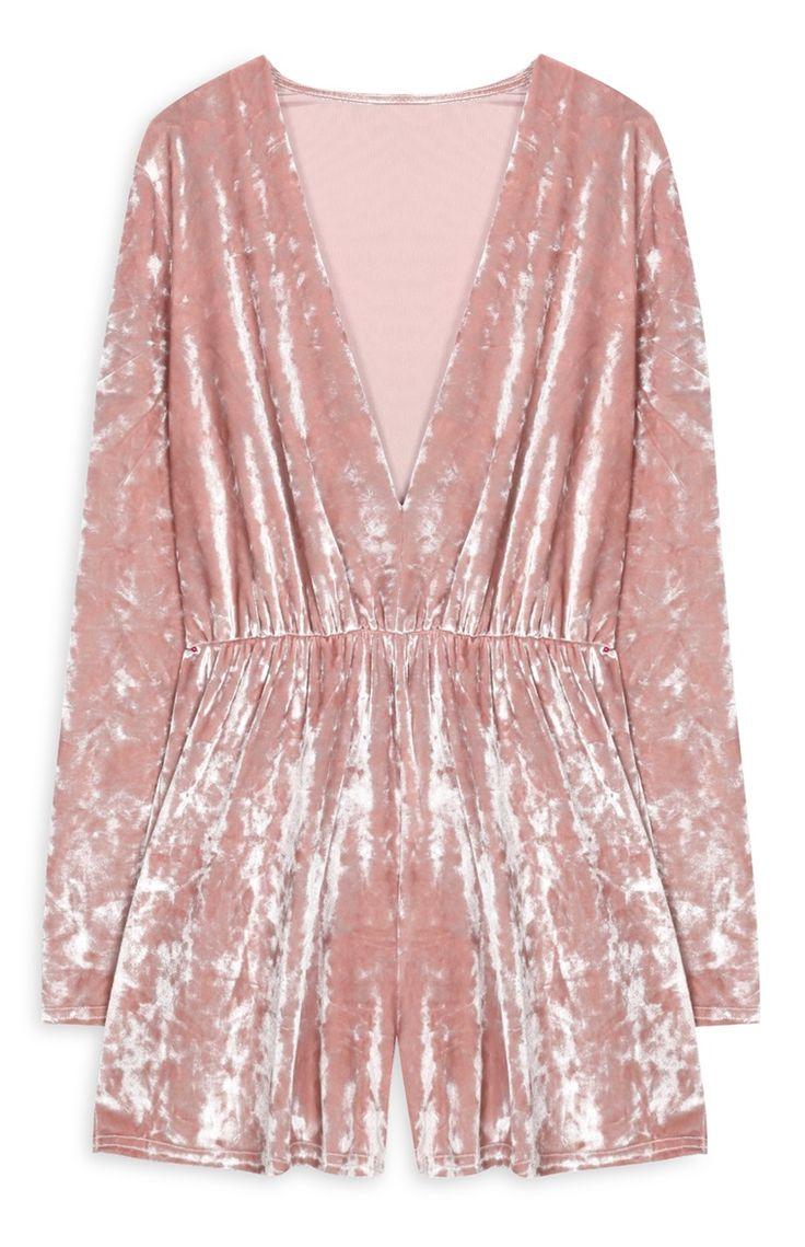 17€ Primark - Mono escotado de terciopelo rosa