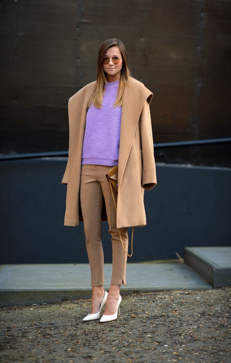 Top Shop pants and sweater, Max Mara coat, Sergio Rossi white pumps and Saint Laurent bag - weworewhat