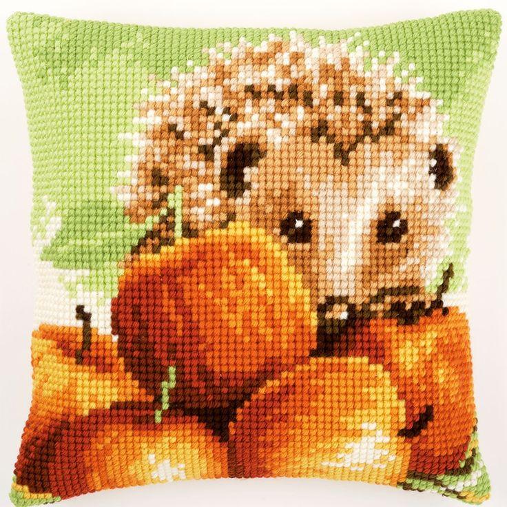 Hedgehog with Apples - Kruissteekkussen - Vervaco