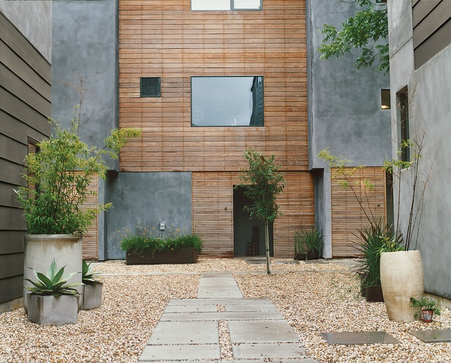 : Dwell, Facade, Exterior, Green, Weathered Wood, Gardens, Architecture, Photo