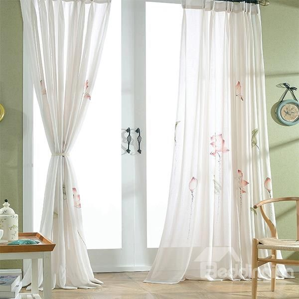 #Chinese Style #Lotus Pattern Custom #Sheer #Curtain