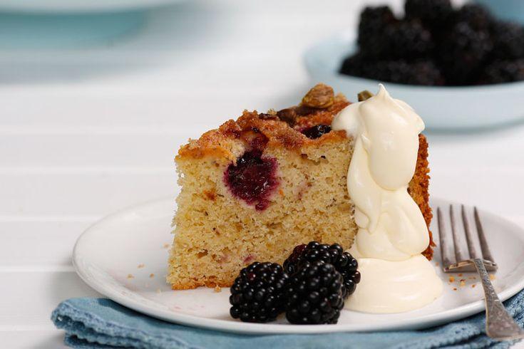 Blackberry, yogurt and pistachio cake