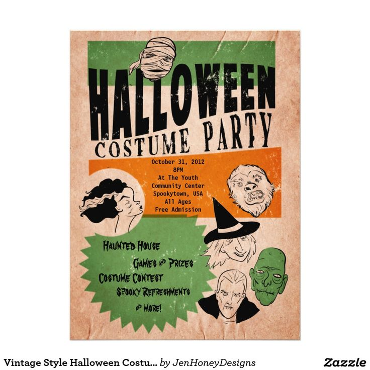 make your own birthday party invitations online for free%0A Vintage Style Halloween Costume Party Invite All your classic monsters and  oogieboogies in a