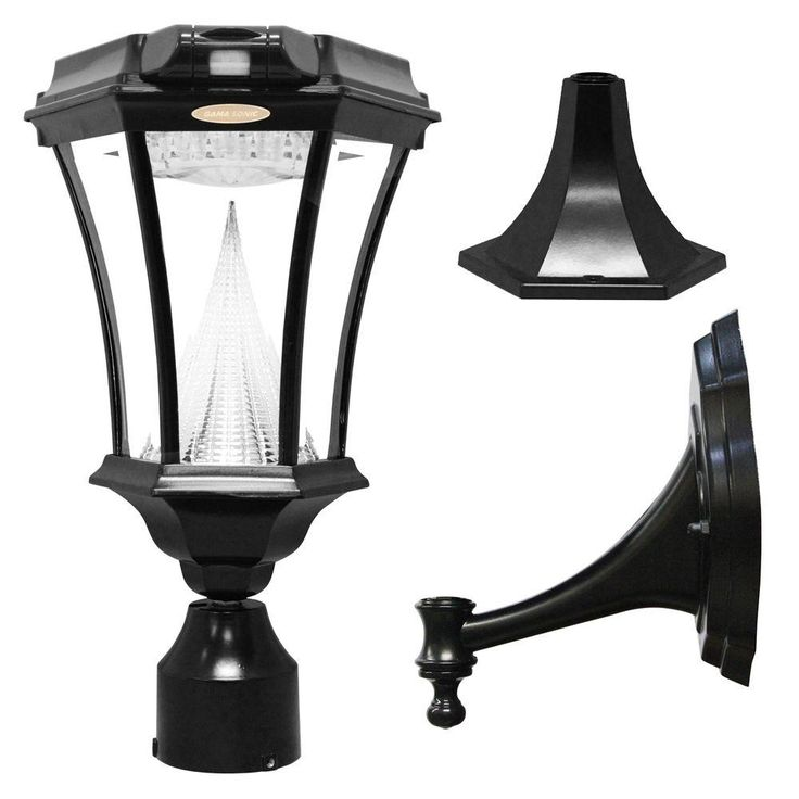 Gama Sonic Victorian Single Black Integrated Led Outdoor Solar Lamp With 3 Mounting Options And Motion Sensor