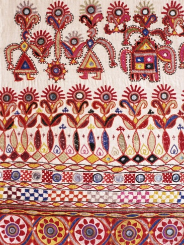 Traditional Rabari Tribal Embroidered Fabrics, Kutch, Gujarat State, India Photographic Print