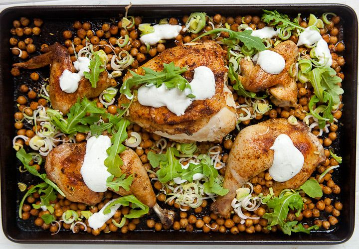 Easy chicken sheet pan supper with roasted chickpeas and a simple yogurt sauce! Dinner is done!
