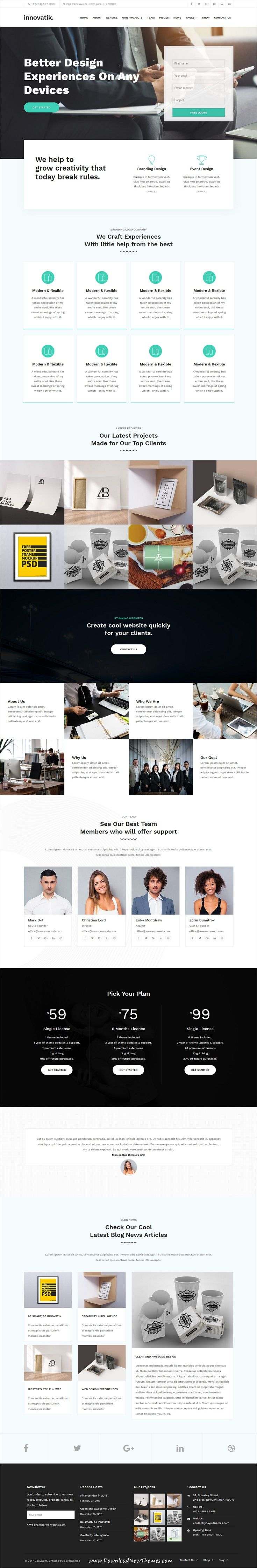 Innovatik is clean and modern design responsive #WordPress #template for professional corporate #office website to live preview & download click on image or Visit 👆